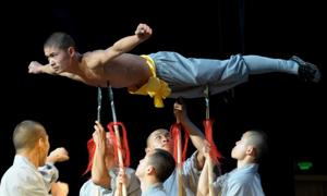 Buddhist monks from China's Shaolin Temple perform at Dakar's Grand Theatre