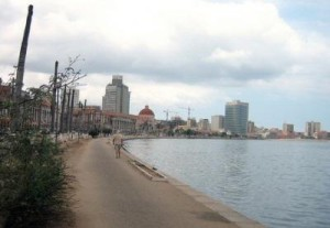 Skyscrapers along the shore in Luanda, Angola. Photograph by mp3ief.