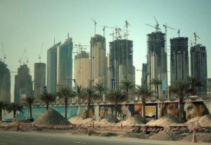 Built by migrants: Skyscrapers in Dubai. Photograph by Jake Brewer.