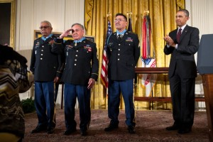 President Barack Obama recognizes Medal of Honor honorees, from left, Staff Sergeant Melvin Morris, Sergeant First Class Jose Rodela, and Specialist Four Santiago J. Erevia