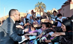 Morocco's King Mohammed VI greets the crowd