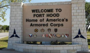The main gate at the Fort Hood army base