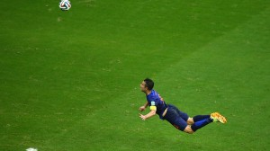 Robin van Persie of the Netherlands scores the teams first goal. © Getty Images