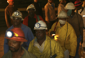 Harmony Gold miners appear on surface after being trapped underground for more than 10 hours at a mine in Carltonville